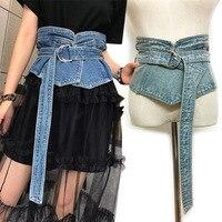 Koreanische Denim Jean Stoff Taille Gürtel Für Frauen Breiten Korsett Gürtel Retro Design Front Tie up Taille Gürtel Mädchen Kos