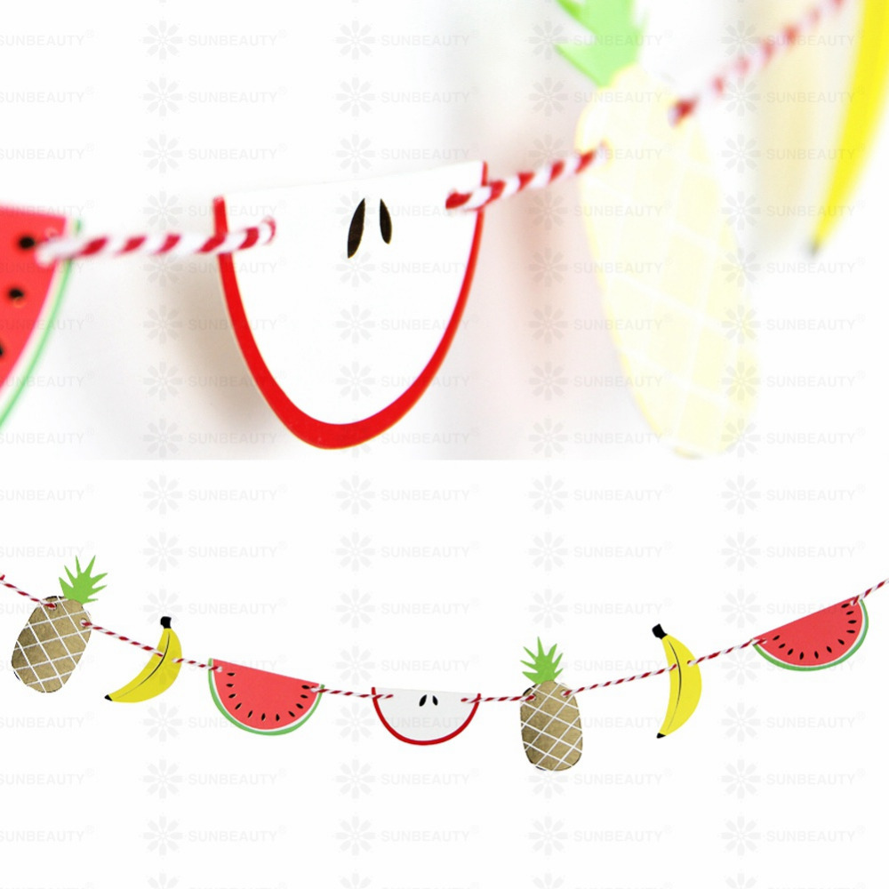 Summer Garland Paper Fruit  Bunting Pineapple Banana Watermelon Apple Banner Hawaiian Luau Party Supplies