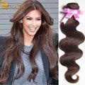 Rosa продукты волосы Малайзии девы волос объемной волны 3 расслоения 16 до 24 дюйм(ов) 100% человеческих волос темно-коричневый вьющиеся
