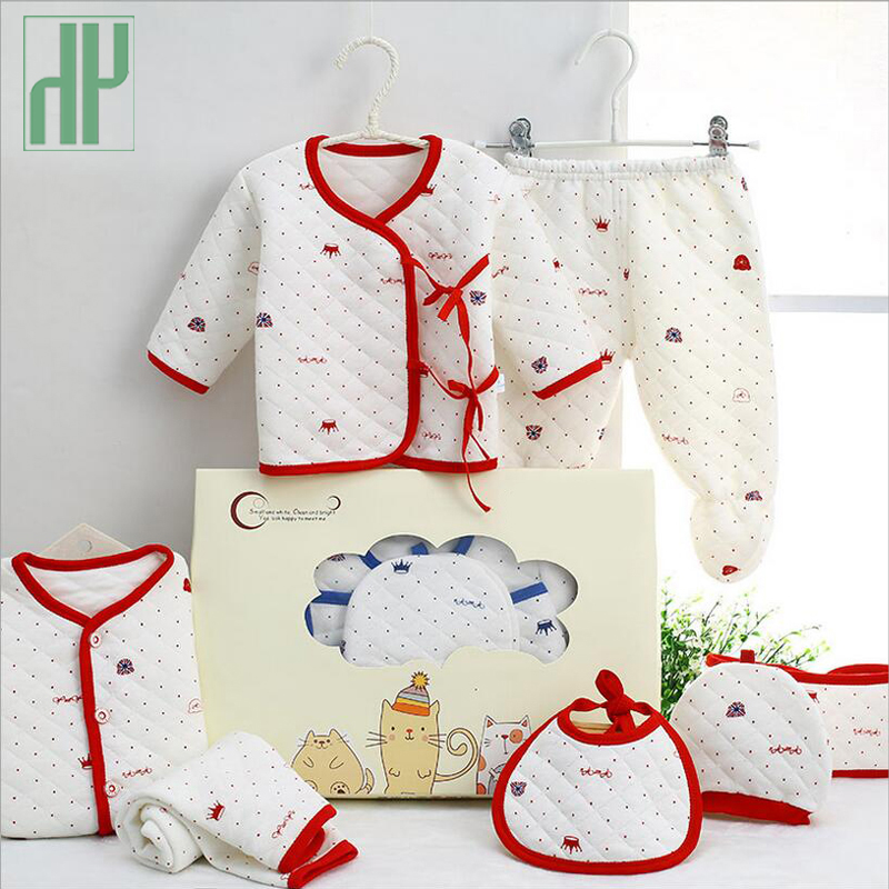7PCS/Newborn Baby Set 0-3M new Infant Clothing suit newborn cotton new born baby boy girl clothes winter Autumn unisex outfit 2017 hot newborn infant baby boy girl clothes love heart bodysuit romper pant hat 3pcs outfit autumn suit clothing set