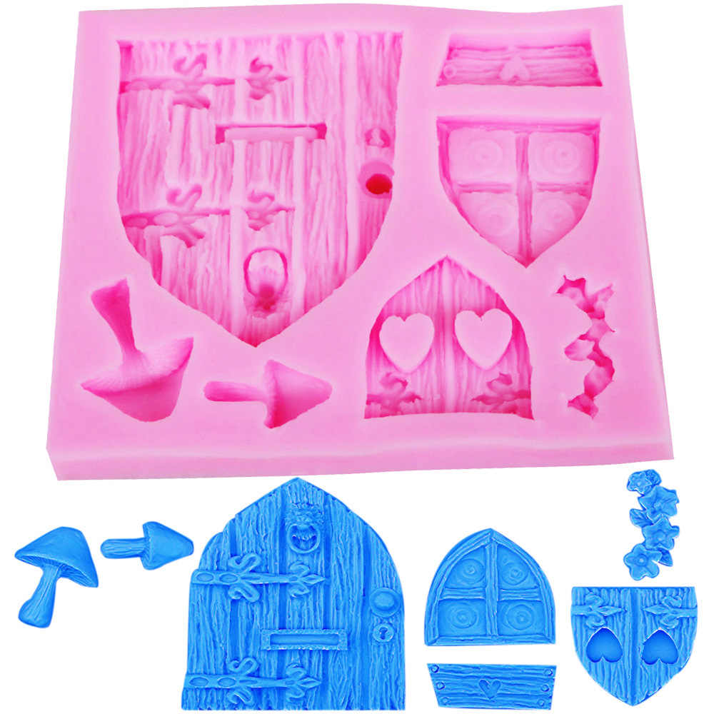 Fairy Tale Cottage Silicone Mold Mushroom Window Door Fondant 3D Cake Chocolate Ice Mold Decorations Chocolate Baking Tool
