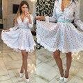 Новый Летний Стиль Кружевном Платье 2016 Мода Повседневная Свободные Печать Три Четверти Рукав Мини Dressturn вниз Воротник женщин платье