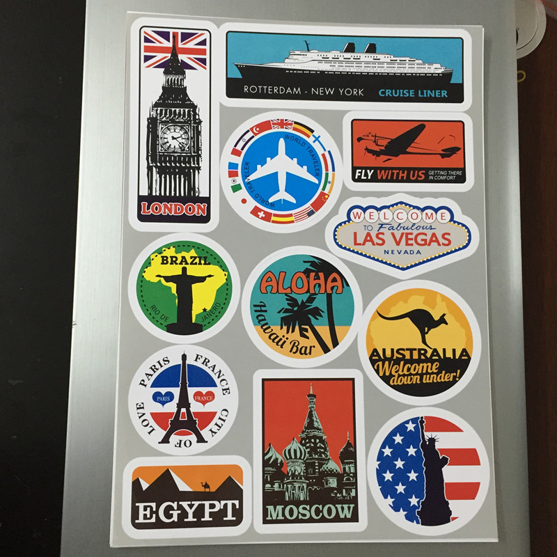 Yourart waterproof removable car sticker styling world vintage travel suitcase stickers luggage laptop guitar pvc auto