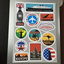 Yourart Waterproof Removable Car Sticker Styling World Vintage Travel Suitcase Stickers Luggage Laptop Guitar PVC Auto Sticker