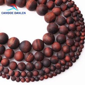 Camdoe danlen contas de pedra natural fosco fosco red tiger eye contas redondas 4 6 8 10 12mm caber diy moda jóias fazendo acessório