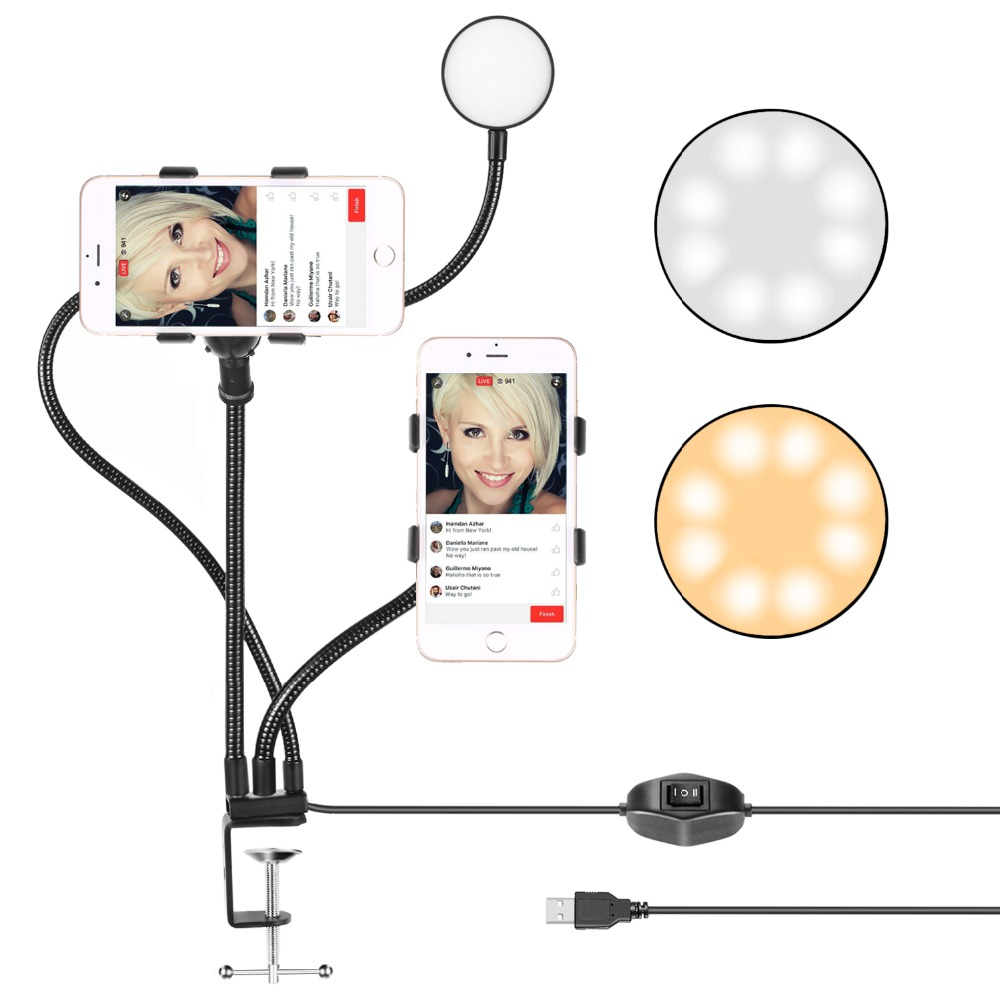2-Light Mode 6s 7 Samsung S Serial 6s Plus Huawei 360 Degree Rotating for iPhone 8 Neewer Table Top Live Broadcast LED Selfie Ring Light with Smartphone Clamp for Live Stream,YouTube Video