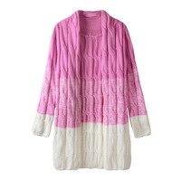 2018 חדש סתיו וחורף נשים ארוך אפודות סוודר סרוג טוויסט צבע הדרגתי פסק עיבוי 17124