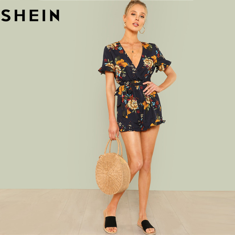3a0ce7e236 SHEIN Summer Beach Boho Print Deep V Neck Mid Waist Playsuits Women Flounce  Sleeve Tie Waist Frill Trim Floral Belted Rompers-in Rompers from Women's  ...