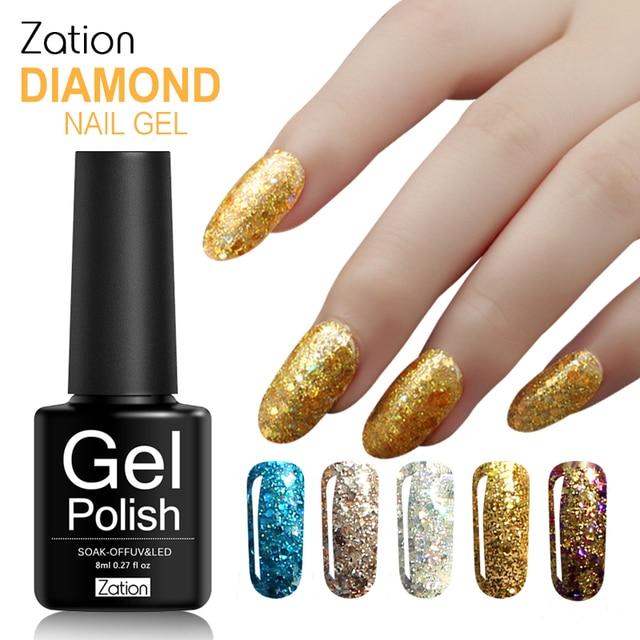 Zation Varnish Diamond UV Gel Bling Nail Polish Glitter Nail Gel ...