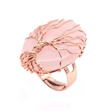 Trendy-beads Rose Gold Color Wire Wrap Oval Shape Natural Pink Quartz Resizable Engagement Ring