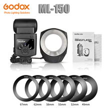 купить Godox ML-150 Macro Ring Flash Speedlite Guide Number 10 with 6 Lens Adapter Rings for Canon Nikon Pentax Olympus Sony cameras дешево