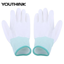 1 Pair Anti Static Antiskid Glove PU Coated Finger Part Clean Gloves Knitted Anti Static Glove for PC Computer Phone Repair S-L (China)