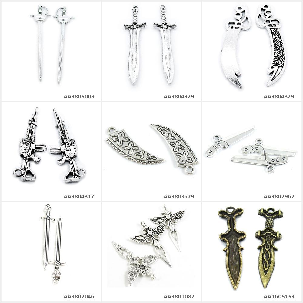 Antique Bronze Silver Jewelry Making Charms Plated Dagger Knife Angel Sword Latin Cross Leopard Ox Horn Automatic Rifle Gun Mong(China)