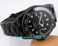 Cristal de Zafiro 40mm Bisel De Cerámica Naranja GMT Parnis Negro Dial Automático PVD Reloj de Los Hombres de Alta calidad Al Por Mayor de relojes