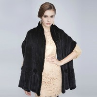 Free EMS women's capes and ponchoes hot sale high quality elegant ladies 100/100 genuine real mink fur large cape black shawl