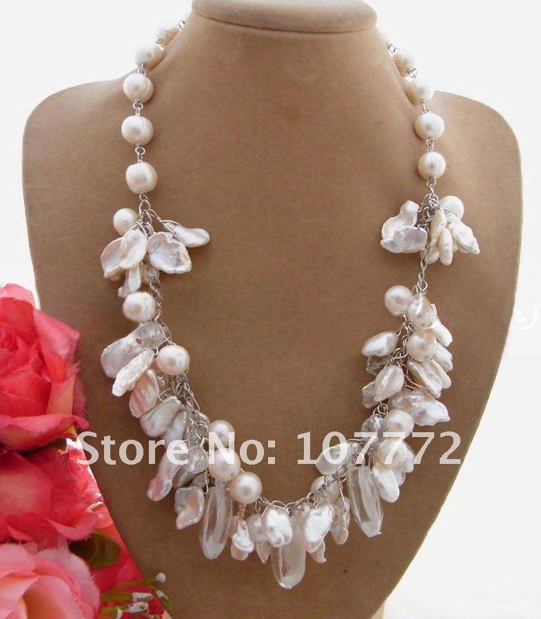 Keshi Pearl&Crystal NecklaceKeshi Pearl&Crystal Necklace