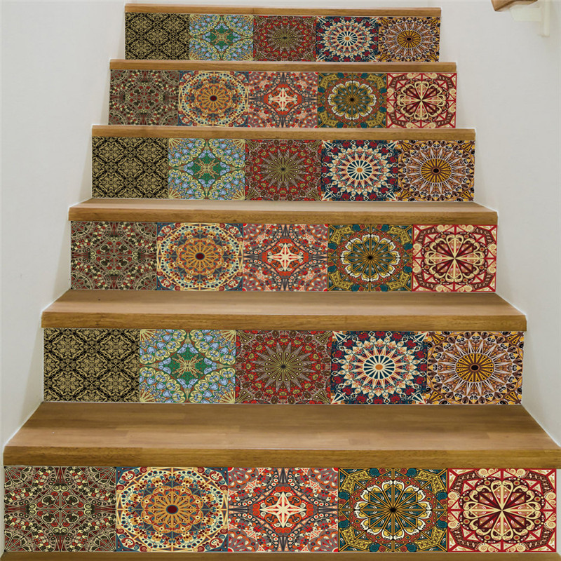 Creative self adhesive staircase stickers DIY Arabic style pattern stickers staircase stickers stair decoration Home decoration