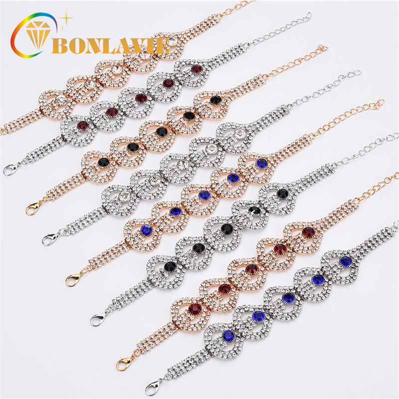 2018 Luxury Crystal Rhinestone Bracelets For Women Friendship Gift Chain Charm Bracelets Bangles Wedding Jewelry
