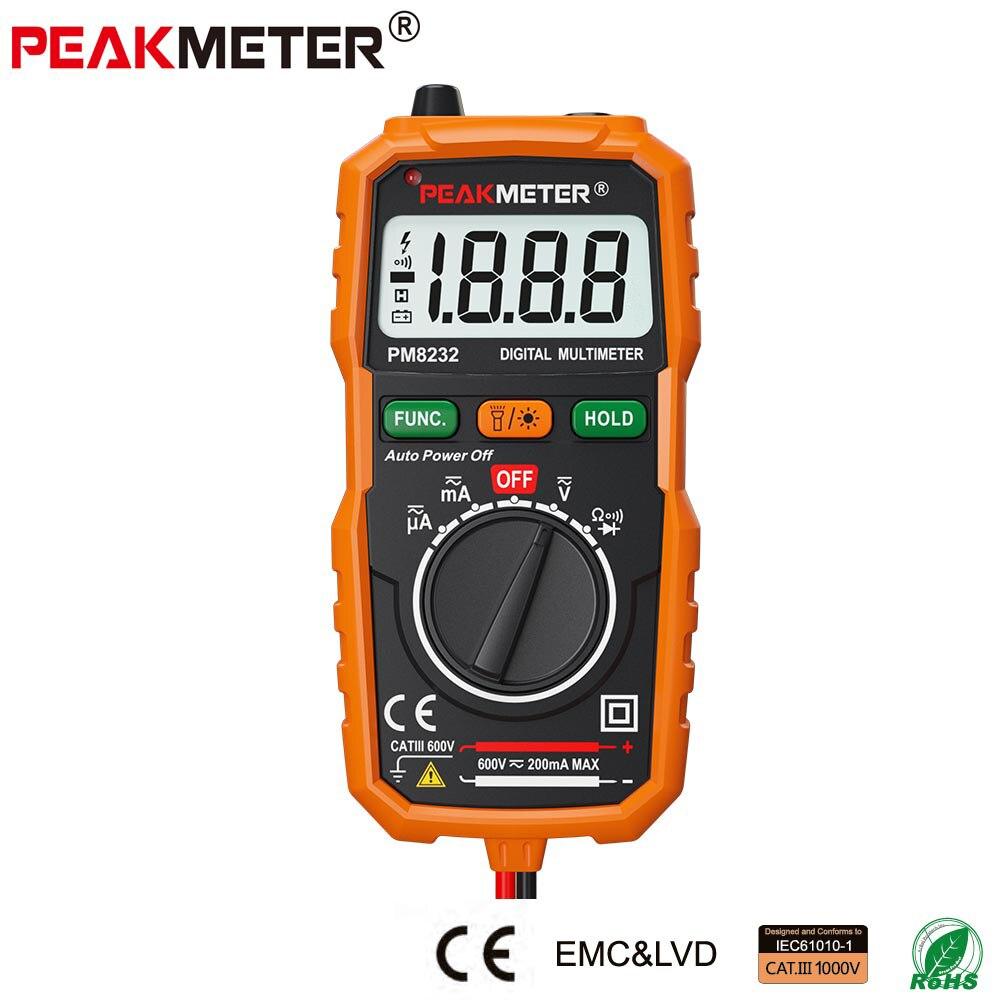 PEAKMETER Neue Heißer Verkauf Nicht-Kontakt Mini Digital-Multimeter DC AC Spannung Strom Tester PM8232 Amperemeter Multi tester