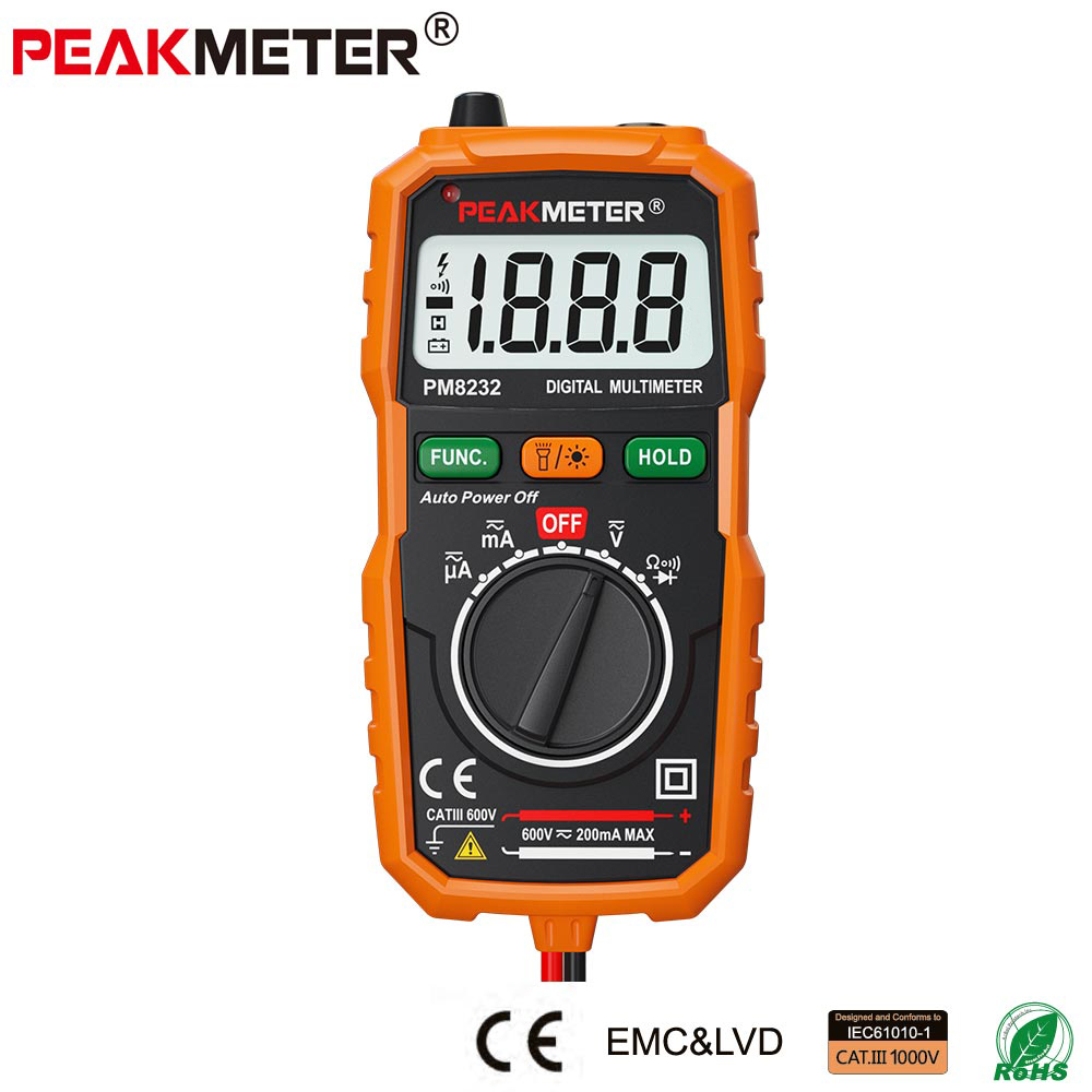 PEAKMETER New Hot Sale Non-Contact Mini Digital Multimeter DC AC Voltage Current Tester PM8232 Ammeter Multi tester