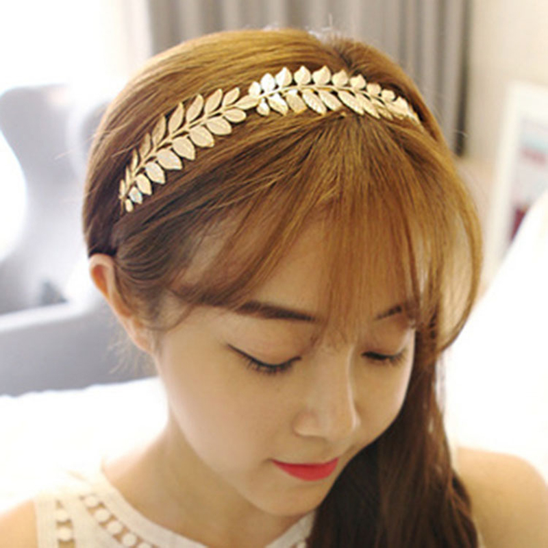 LNRRABC Fashion Women Elegant Baroque Style Metal Leaves Headband Bridal Charm Hair accessories Hairband 1