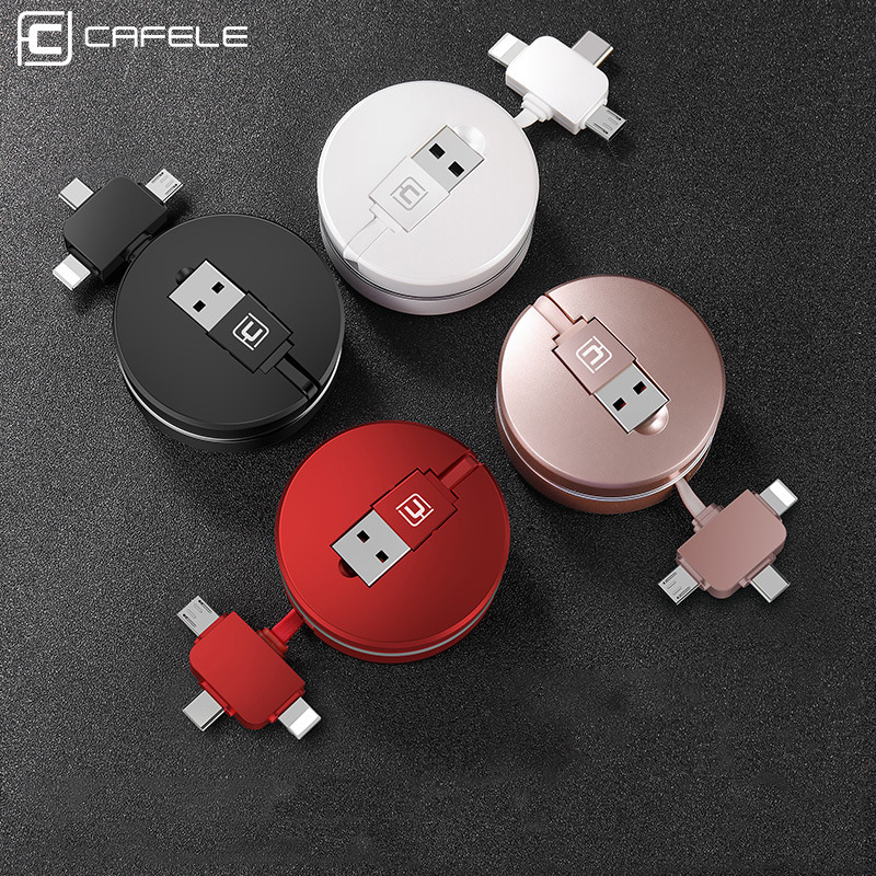 Cafele 3 in 1 Micro USB Type C 8 Pin USB Cable for iPhone X 8 7 6 Cross Design Retractable 100cm USB Cable for Xiaomi Huawei