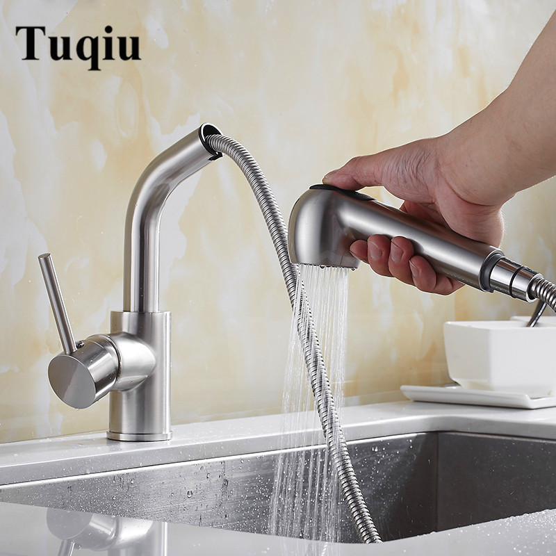 Kitchen Faucet Nickel Brushed Pull Out Brass Kitchen Faucet Single Handle Sink Mixer Tap Hot Cold Deck Mounted Kitchen Water Tap yanjun us kitchen faucet brushed pull down single handle basin sink deck mounted swivel mixer cold and hot water tap yj 6654
