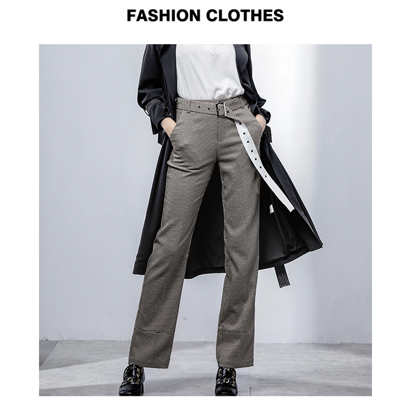 2019 Euro Style Fashion Women Trousers Plaid Pattern Loose Zipper Up Casual Pants Casual Office Lady