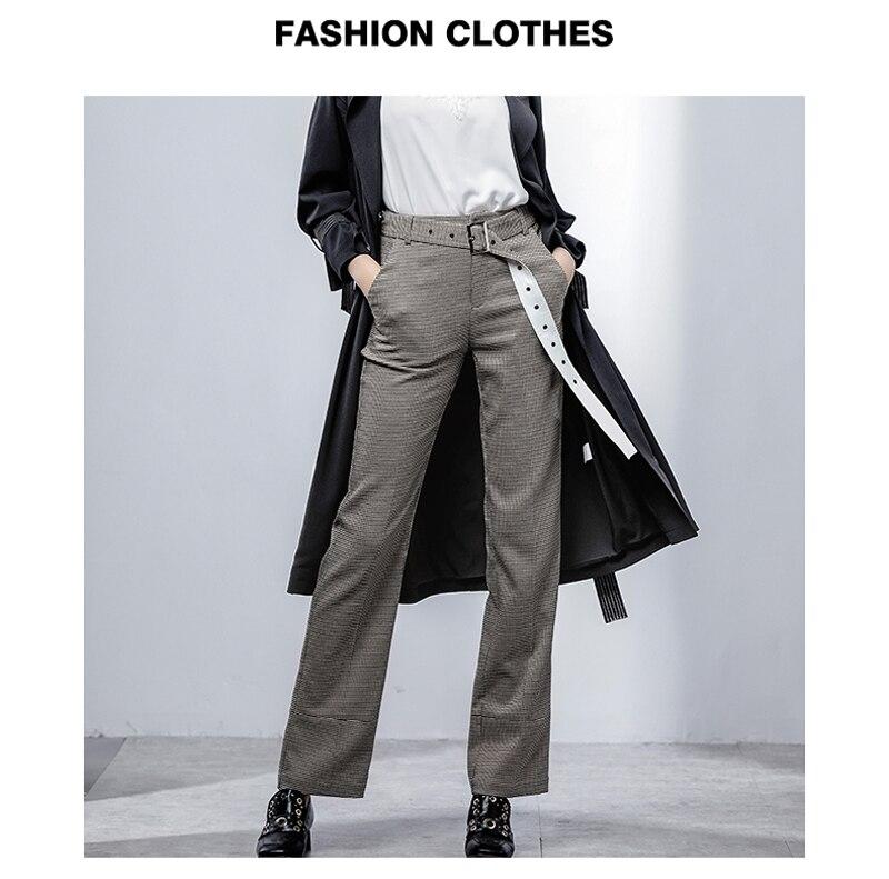 2019 ยูโรสไตล์แฟชั่นผู้หญิงกางเกงลายสก๊อตหลวมซิปลำลองกางเกง Casual Office Lady Chic กางเกง Z1246-ใน กางเกงและกางเกงรัดรูป จาก เสื้อผ้าสตรี บน   1