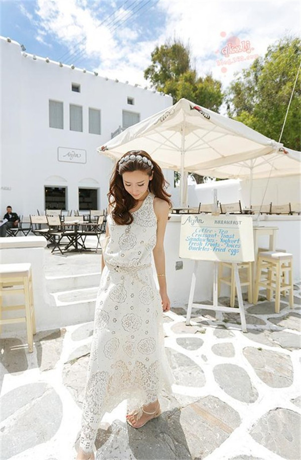 Maxi Dentelle Casual Bohème Summer Ceinture Impression Avec Évider Doux Princesse Blanc Longue Robe Vacances Voyage De Plage qMSzGUVp