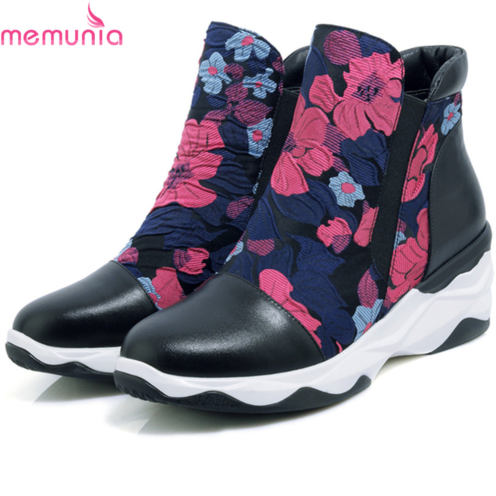 MEMUNIA fashion autumn winter women boots round toe genuine leather+synthetic boots wedges cow leather ankle boots black memunia fashion women boots round toe genuine leather boots zipper square heel wool keep warm cow leather mid calf boots