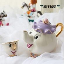 100% offizielle Neue Stil Cartoon Schönheit und das Biest Teekanne Tasse Mrs Potts Chip Teekanne 2 STÜCKE Ein Satz für Sammlung geschenk