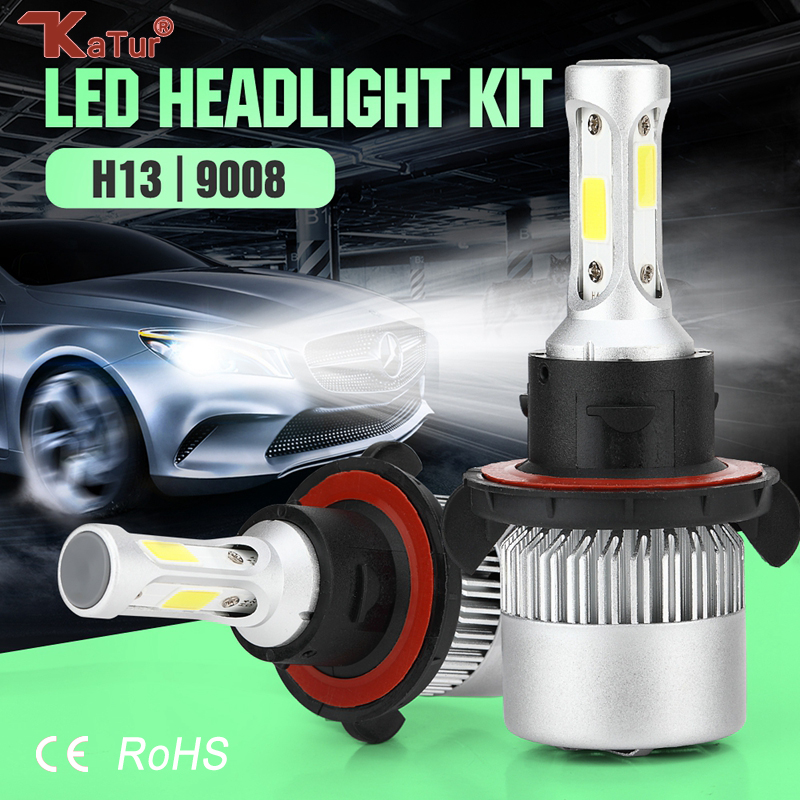 Katur 2pcs LED Car Headlight H13 Hi-Lo Beam COB Auto Led Headlight Bulb 80W 4000lm 6500K Headlamp Front Fog Light External Led 2pcs set 72w 7200lm h7 cob led car headlight headlamp auto lamps led kit 6000k headlight bulb light car headlight fog light