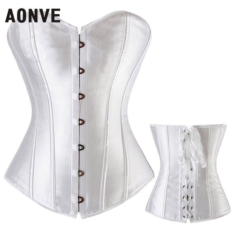 AONVE Women Sexy Punk Goth Satin Pink   Corset   Femme Overbust   Bustiers   Soild White Red Blue Lace Up Boned Top   Corsets