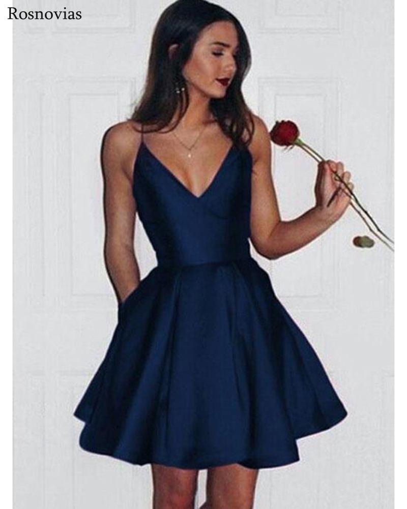 Simple Cheap Graduation Dresses 2020 V Neck Backless Mini Prom Party Dresses Vestido Festa Curto Customized Homecoming Dresses