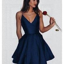 Simple Cheap Graduation Dresses 2020 V Neck Backless Mini Prom Party Dr