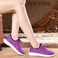 2016 Winter Fashion Women casual zapatos planos transpirable Zapatos Gris Púrpura Azul Más El tamaño 6-10