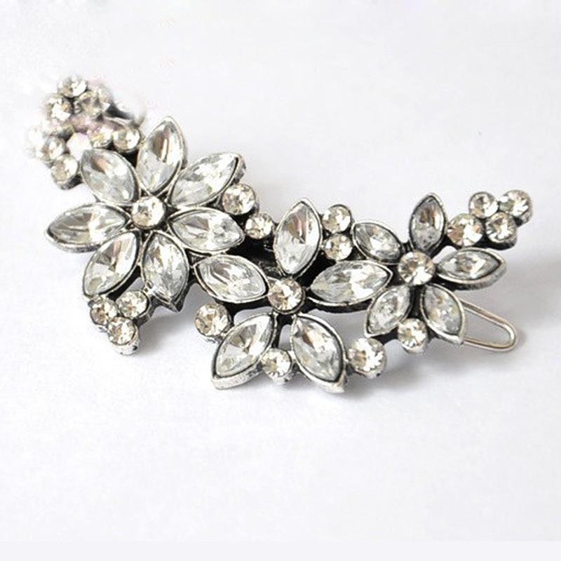 1Pc Girls Women Elegant Flower Hairpins Hair Barrettes Clip Crystal Hair Clip Hair Accessories Hair Pins Wedding Bridal Decor