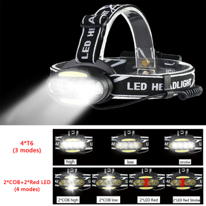 Image 2 - Pocketman Headlight Powerful USB Headlamp 4* T6 +2*COB+2*Red LED Head Lamp Head Flashlight Torch Lanterna with batteries charger