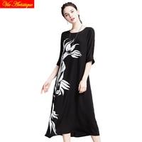 women's silk render skater dress short sleeve office white black floral dresses large plus size printed loose 2018 summer VA