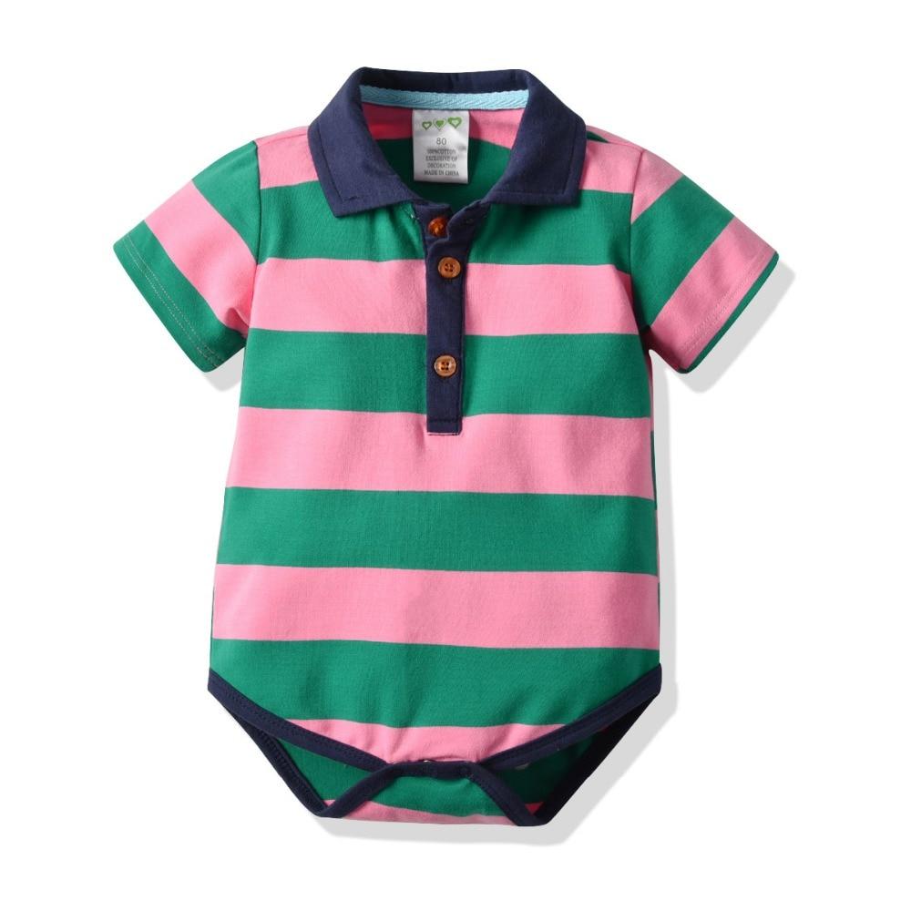 Summer Newborn Baby Boy Clothes Striped Bodysuits Newborn Short Sleeve Polo Shirt Baby Bodysuits