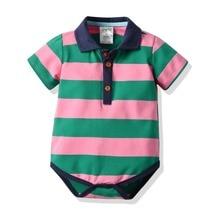 Summer Newborn Baby Boy Clothes Striped Bodysuits Short Sleeve Polo Shirt