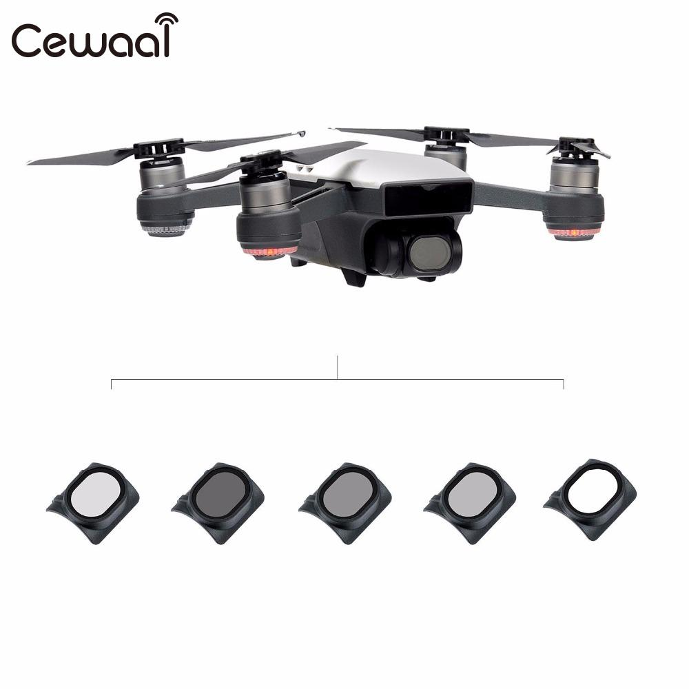 Cewaal 5Pcs HD UV CPL ND4 ND8 ND16 Lens Filters Anti Scratch For DJI Spark Camera Drone UAV Professional Protection Filter Gift