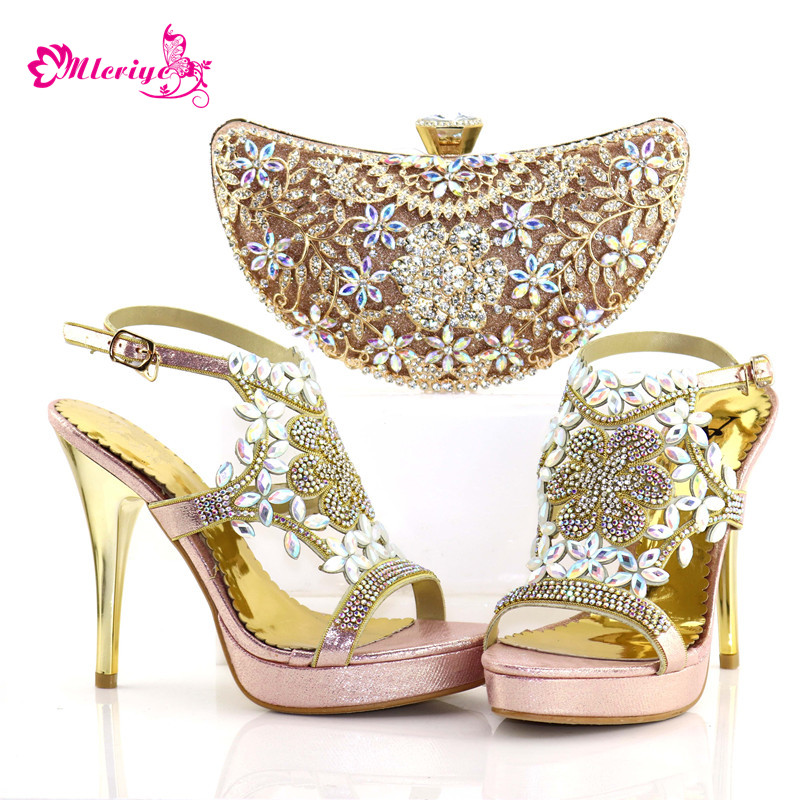 Italian Shoes with Matching Bags High Quality Sales In Women Matching Shoes and Bag Set Decorated with Rhinestone African Pumps cd158 1 free shipping hot sale fashion design shoes and matching bag with glitter item in black