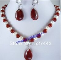 Wholesale Details About Beautiful White Pearl And Red Jade Necklace And Pendant Earrings New