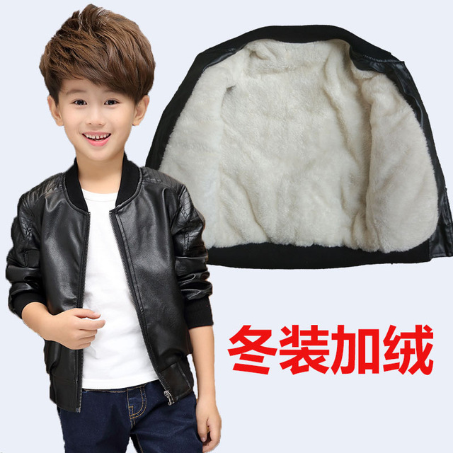 8ce1d900f465 Toddler Boys Leather Children PU Jacket Winter Kids Clothes Baby ...
