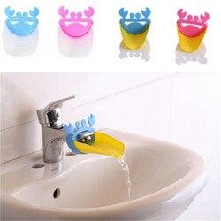 Único Bonito Caranguejo de Água Do Banheiro Torneira Extensor Para a Lavagem Das Mãos Do Miúdo da Criança Da Calha Pia Guia de Encaixe Do Banheiro Definir o Transporte Da Gota