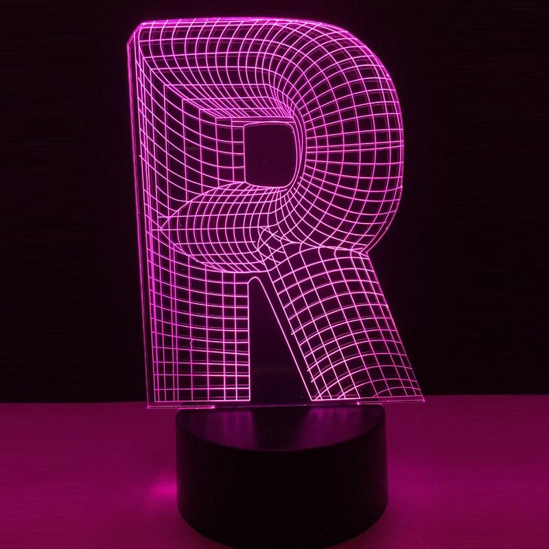 Novelty 3d Lighting Alphabet Letter R 7 Color Changing