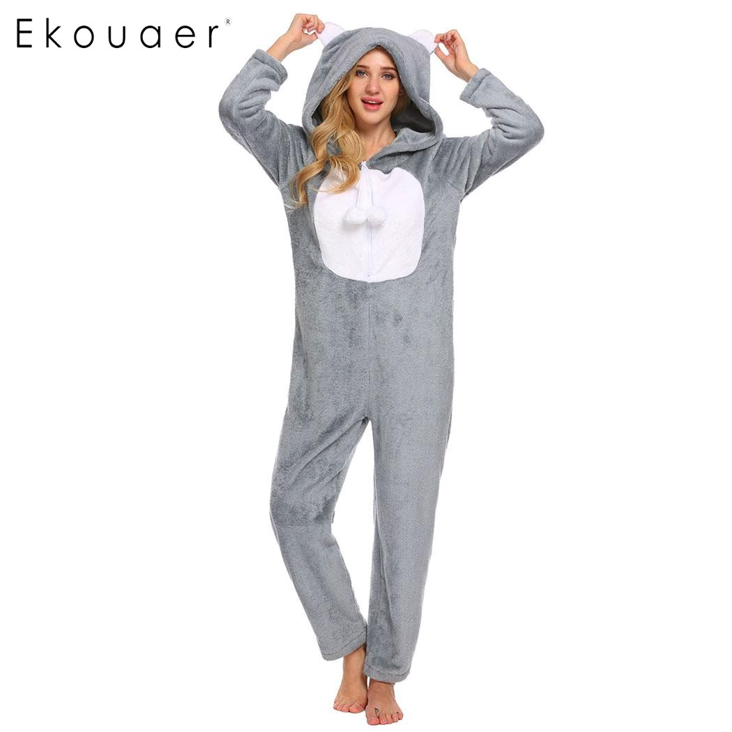 Ekouaer Для женщин теплые зимние пижамный комплект пижама с длинными рукавами с капюшоном Плюшевые Комбинезоны пижамы животных партии Рождест...