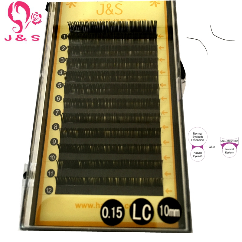 Matte Ellipse Flat 4Trays 0.15 LC curl False Eyelash Extensions China Factory Wholesale Price